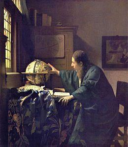 Vermeer .L'Astronome ou L'Astrologue, est un tableau de Johannes Vermeer (huile sur toile, 51 × 45 cm), peint vers 1668, et actuellement conservé au musée du Louvre..L'Astronome, actuellement conservé au musée du Louvre, a longtemps été considéré comme le pendant du Géographe, eu égard aux nombreuses similitudes qu'ils comportent. Fait rare dans l'œuvre de Vermeer, les deux tableaux sont à la fois datés et signés, et leur exécution semble être contemporaine.