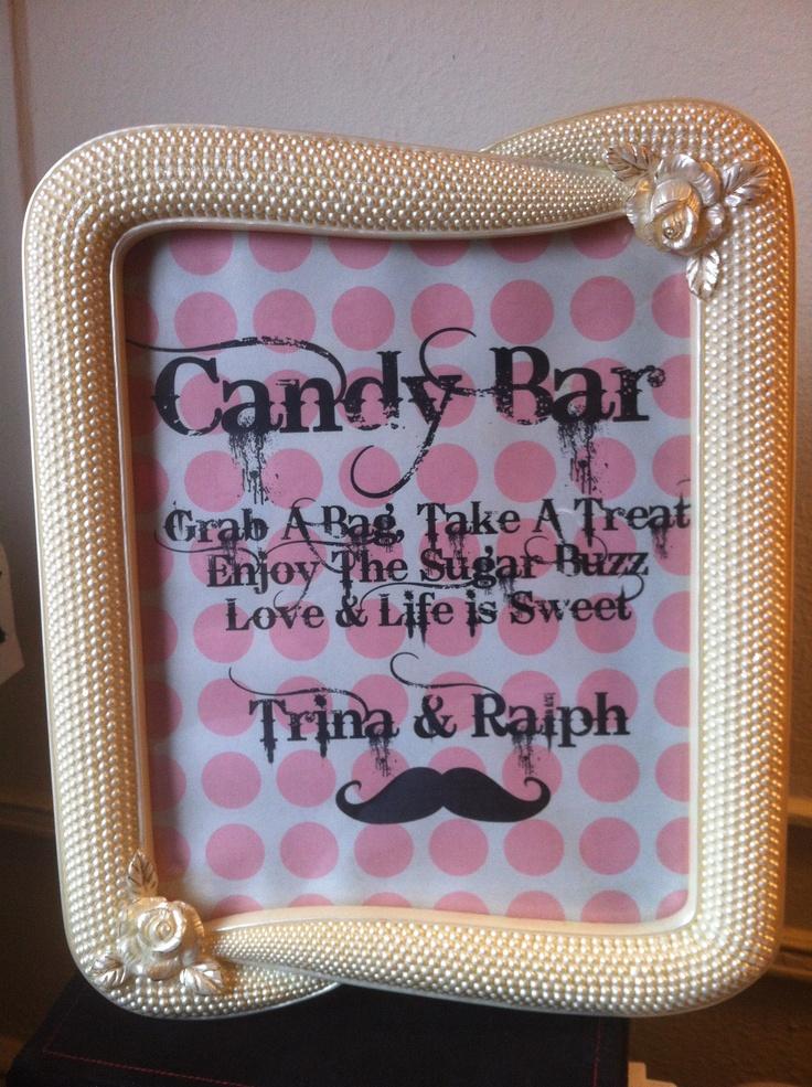 bridal shower candy buffet sign