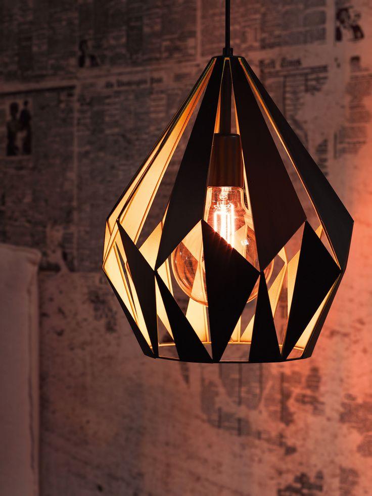 Eglo Lighting Vintage Collection / Carlton /  Black & Yellow Pendant Ceiling Light