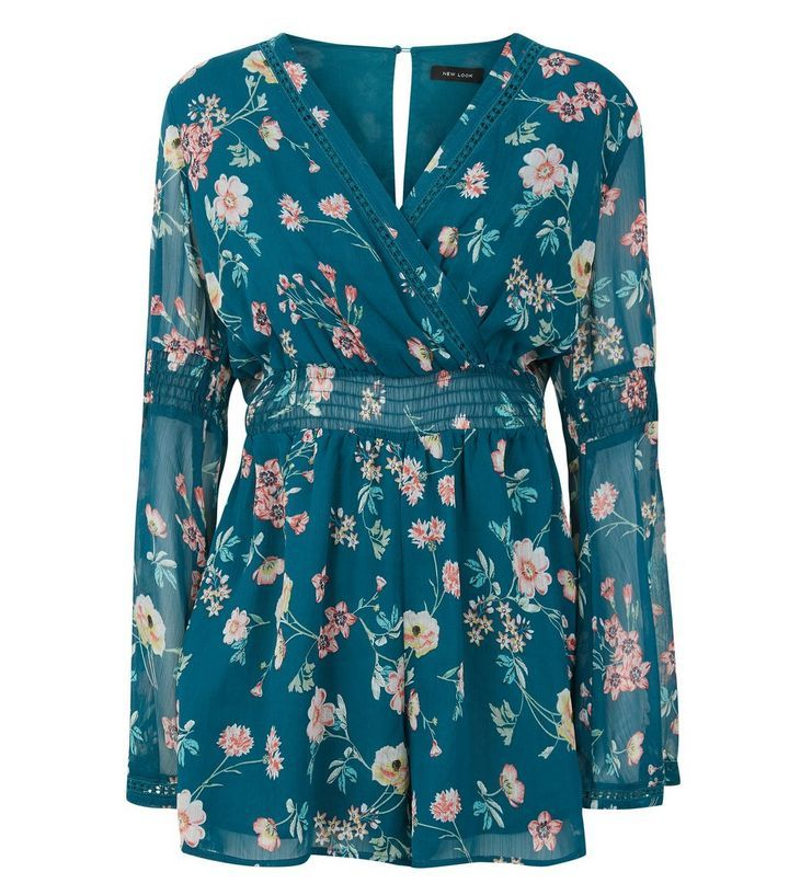 Green Floral Print Chiffon Long Sleeve Playsuit | New Look