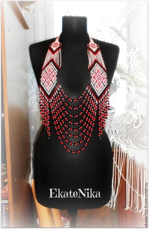 """Купить Гердан-бусы """"Славяночка"""" - украшение на шею, украшение из бисера, гердан, гайтан, этническое украшение"""