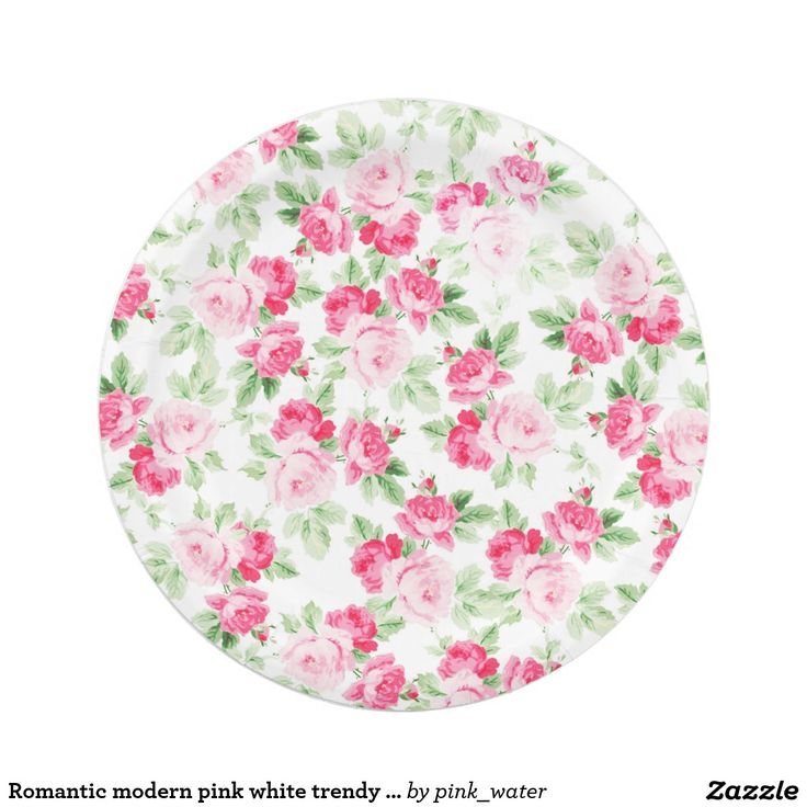 Romantic modern pink white trendy roses floral paper plate  sc 1 st  Pinterest & 1002 best CUSTOM PAPER PLATES Personalized For Parties images on ...