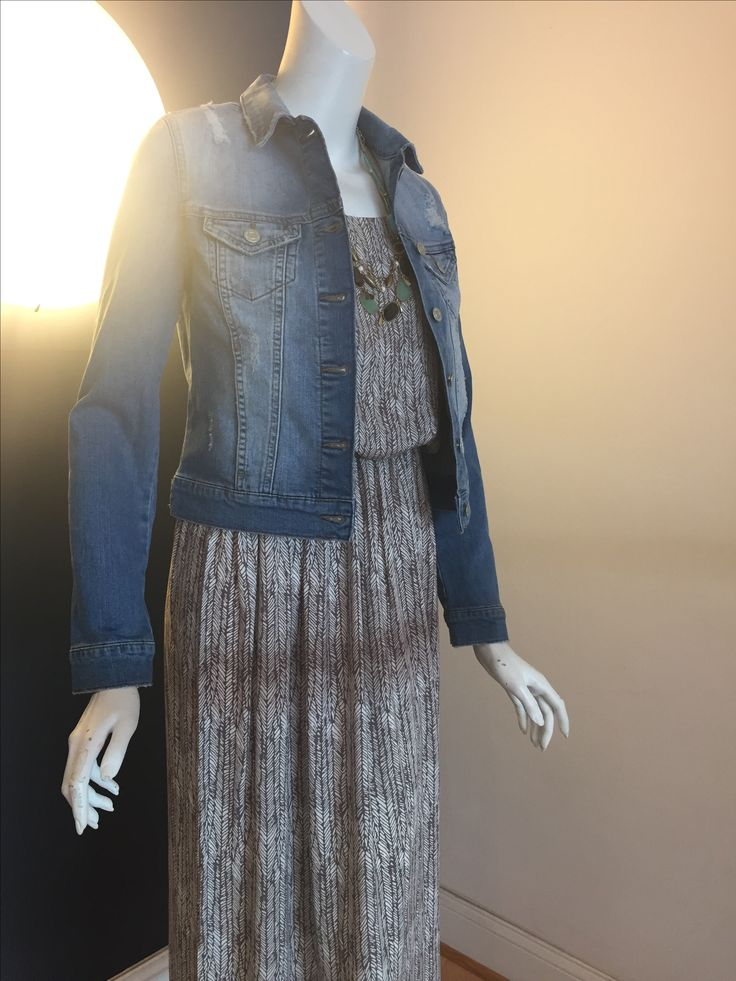 Apricot maxi dress $89.50 Mavi jean jacket $118