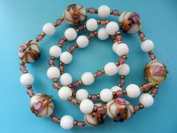Stunning necklace of old Venetian Fiorato  Wedding by RAKcreations