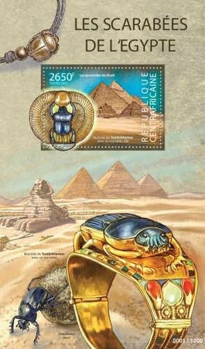 CA15323b Scarabs from Egypt (The pyramids of Giza, Pectoral of Tutankhamon with a scarab with the wings)