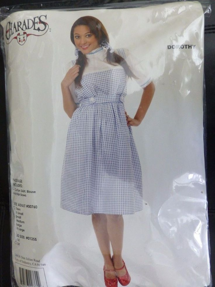 Charades Adult Wizard of Oz Dorothy Halloween Costume Size XL #Charades #Dress