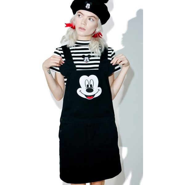 Lazy Oaf X Disney Mickey Mouse Pinafore Dress (£105) ❤ liked on Polyvore featuring dresses, embellished dress, pinny dress, lazy oaf, mickey mouse dress and lazy oaf dress