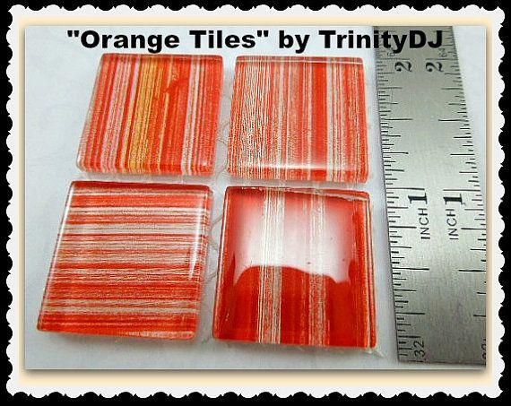 Orange Tiles - Cabochons - Stripes Tiles