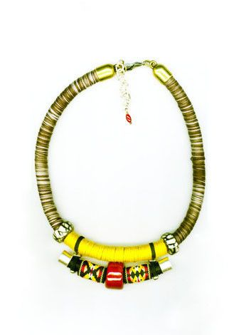 BLACK-WHITE CORD YELLOW ROPE NECKLACE