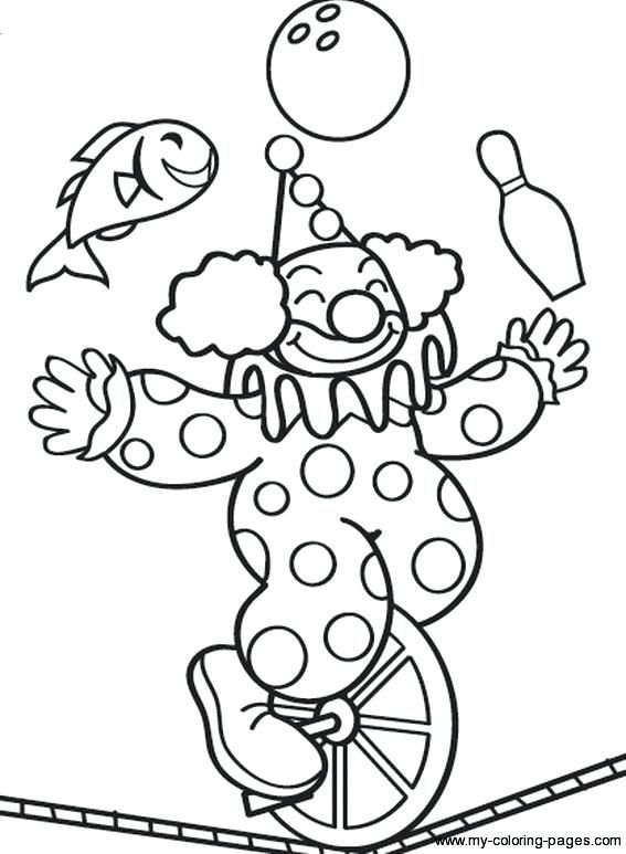 circus clowns coloring pages - photo#24