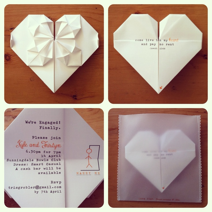 Origami   Heart   Engagement Invitation   Kyle & Tristyn's Engagement