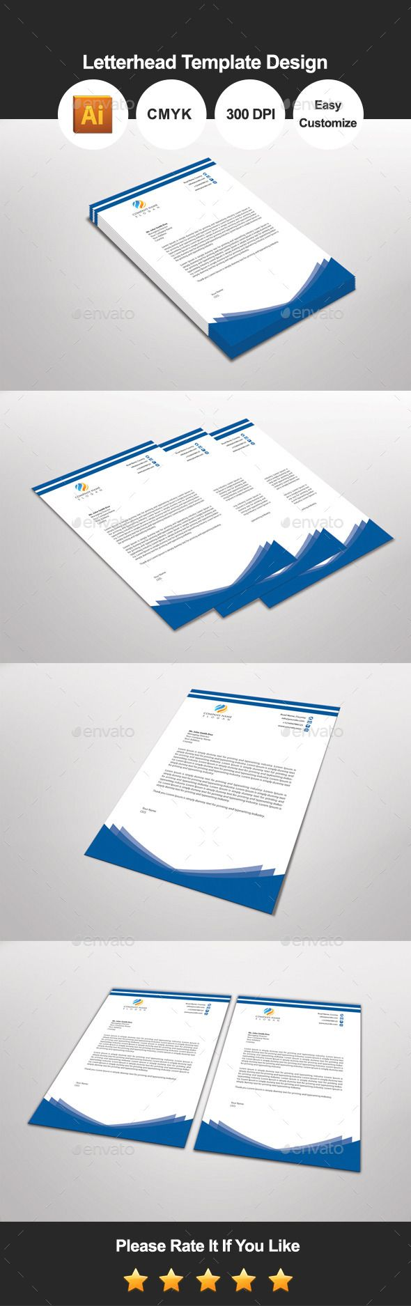 Bluebuilder Letterhead Template Design — Vector EPS #company pad #letter pad • Available here → https://graphicriver.net/item/bluebuilder-letterhead-template-design/11502866?ref=pxcr