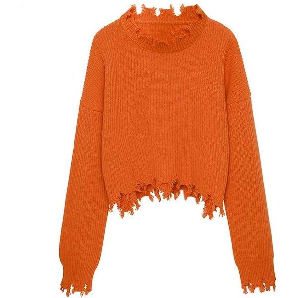 PROTE Asymmetric Hem Knitwear Sweater (1,845 MXN) ❤ liked on Polyvore featuring tops, sweaters, orange sweater, asymmetrical hem top, asymmetrical hem sweater, knitwear sweater and long sleeve tops