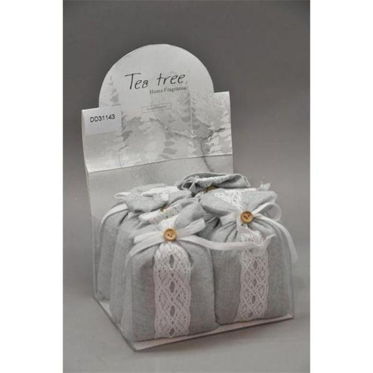 Illatosító tasak csipkés textil 14x9cm fehér tea S/6