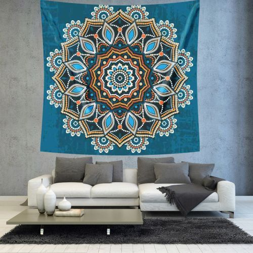 Turquoise Mandala Wall tapestry wall hanging by Christinedecorshop