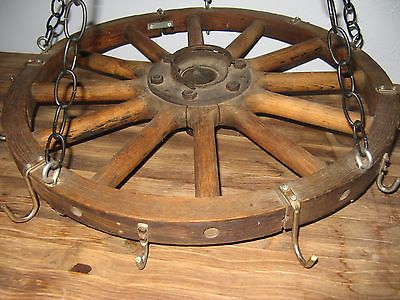 Antique Wagon Wheel Pot Rack Pan Rack Western Kitchen Decor