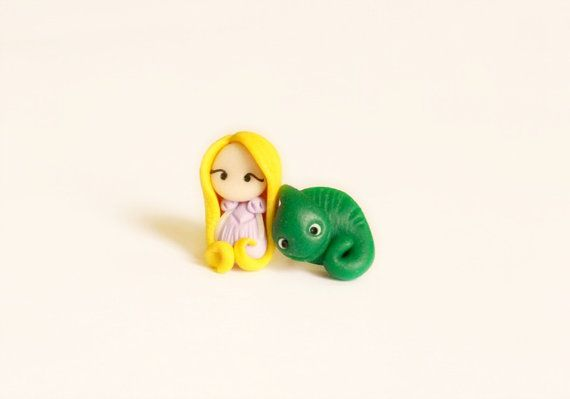 Rapunzel and Pascal stud or magnetic earrings  . Handmade polymer clay. Fimo. Disney jewelry. Tangled jewels. Kawaii.