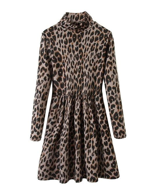 High Neck Leopard Dress