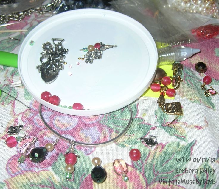 WTW 01/17/18 Still working on a B'sueby1928 shovel, with matching earrings and coordinating skinny charm bracelet, all in antique silver plating.  Pretty dangles from vintage glass, acrylic, etc. beads and pearls.  Also finishing a brass ox charm necklace, to go with puppies and kitties earrings, necklace and bracelet from a couple of weeks ago.  Most if not all components used from b'sueboutiques.com or bsueboutiques on etsy.