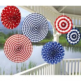 Paper Fan Hanging Patriotic Decorations for 4th of July