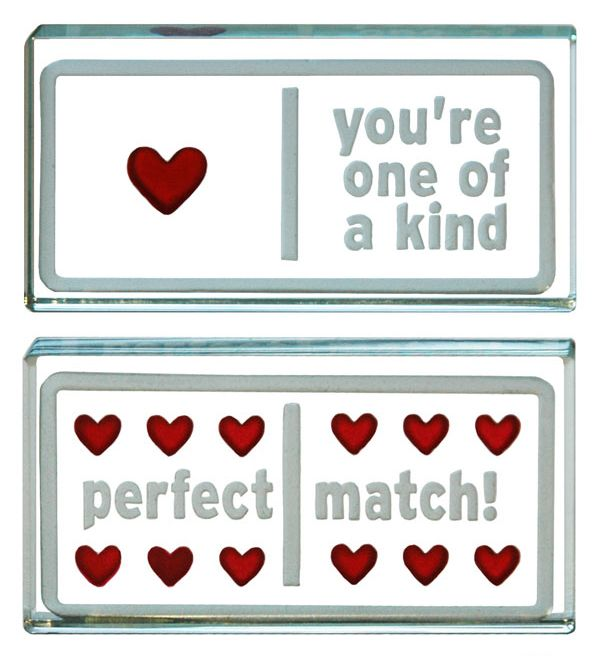 One-Off Landscape Token Domino Hearts. Spaceform glass romantic gift ideas.