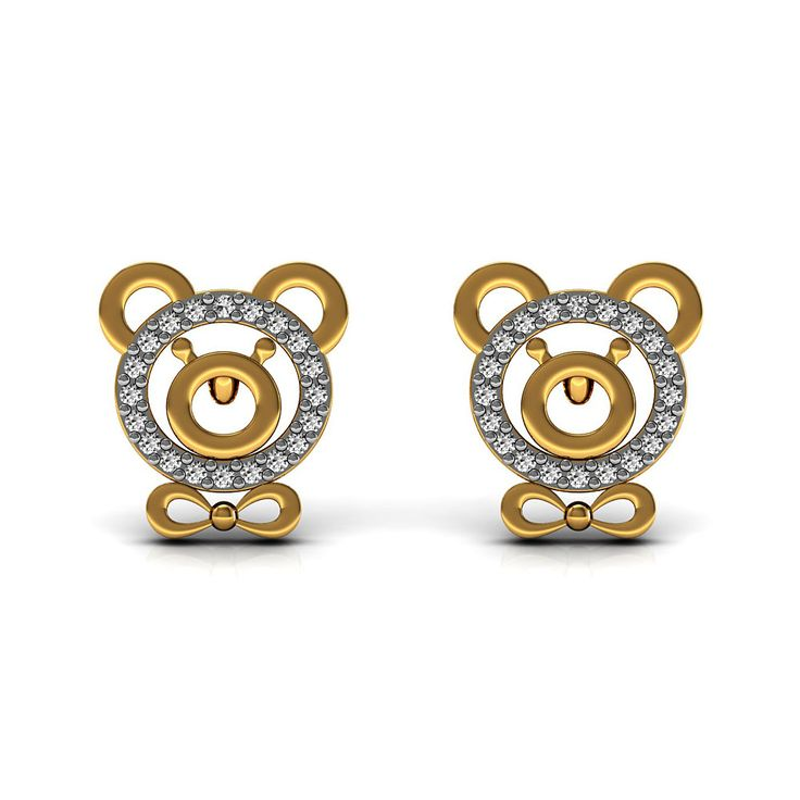 Certified Diamond Pave Teddy Bear Stud Earrings Designer Fine Kid's Jewelry For our little Champions Set in 18K Solid Yellow Gold
