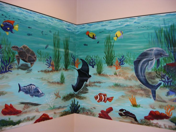 2 wall aquarium mural art nufaux pinterest aquarium for Fish tank paint