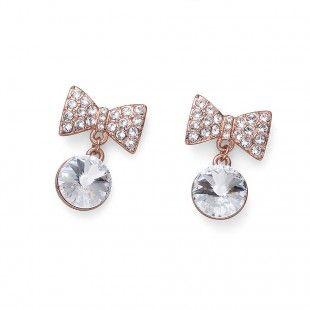 Oliver Weber Women smart ribbon earrings rosegold with Swarovski Crystals