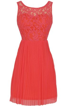 Perennial Garden Lace and Pleated Tulle Dress in Coral www.lilyboutique.com