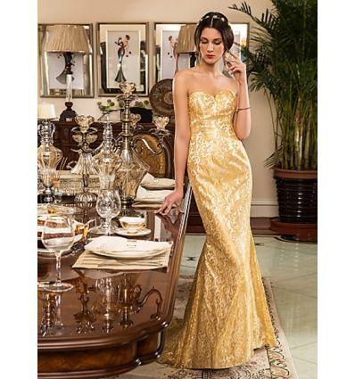 Robe de mariée coupe sirène bustier entièrement en dentelle dorée ...
