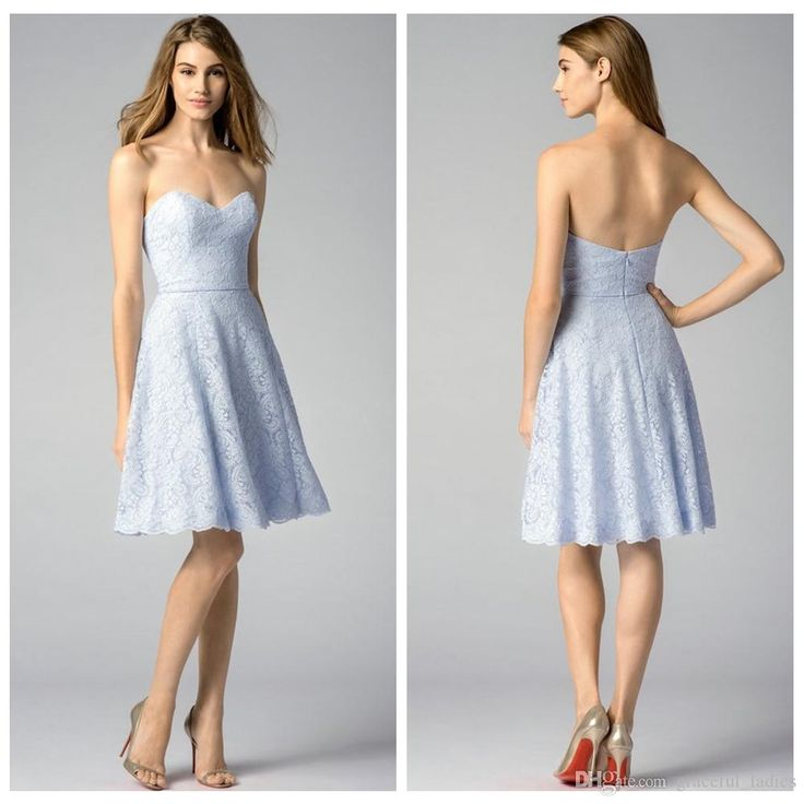Blue Lace Sweetheart Bridesmaid Dresses 2015 Knee Length Short Maid of Honor Dresses Formal Dresses Back Zip Backless Custom Made Size Online with $99.48/Piece on Graceful_ladies's Store | DHgate.com