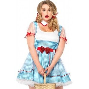 Oz Beauty Dorothy Plus Size Womens Costume Our Price $60.00  Sweet plus size Dorothy from the Wizard of Oz costume set includes the high waist blue and white gingham dress with full skirt and sequin trimmed sheer panel overlay and matching sheer sleeves. It comes with the detached Peter Pan collar.  Plus size only. Other items shown sold separately. Shown with optional Petticoat sold separately.  #cosplay #costumes #halloween