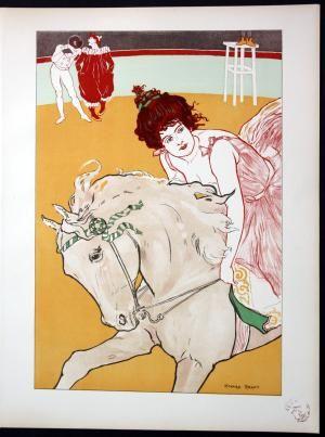 """L'Ecuyere"""" - Zirkus circus Art Nouveau Jugendstil Lithographie Poster l estampe Moderne by Ranft, Richard: Paris, l Imprimerie Champenois, 1897"""