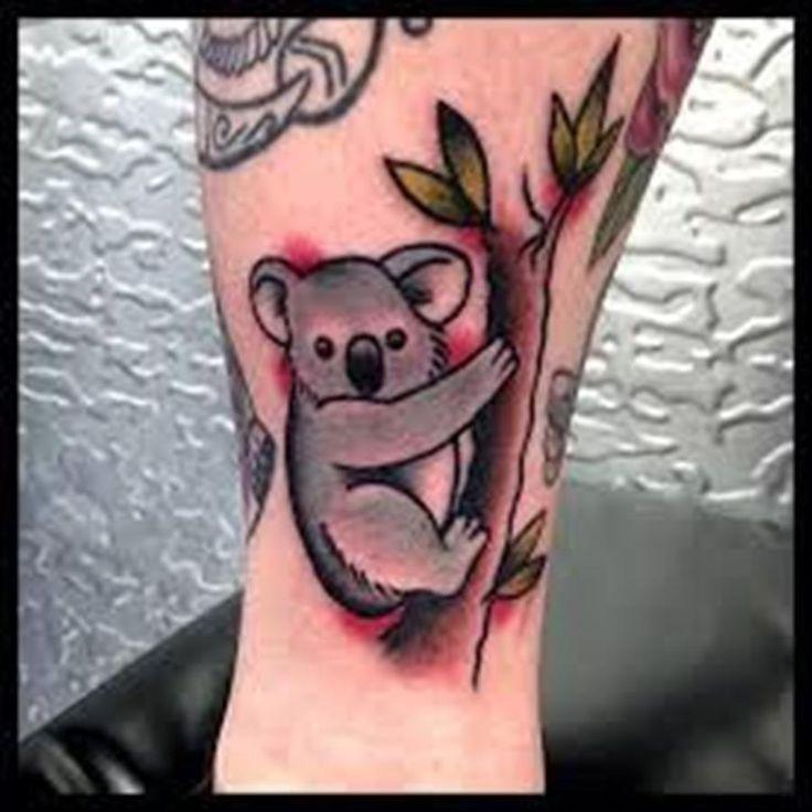tatouage couleur koala arbre jambe
