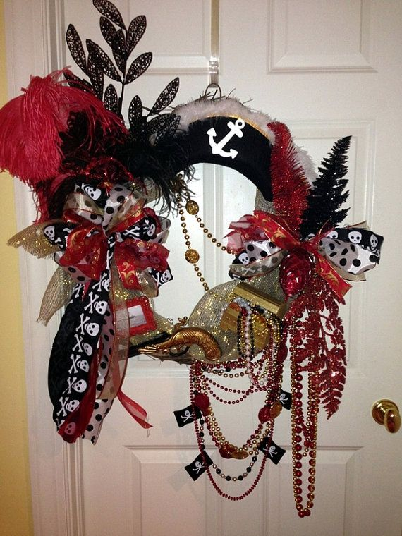 Large Gasparilla Pirate Wreath with Pirate by WenchesandWreaths, $120.00