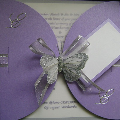 Ref Kgaogelo Purple ( we can do any colour) www.weddingcards.co.za