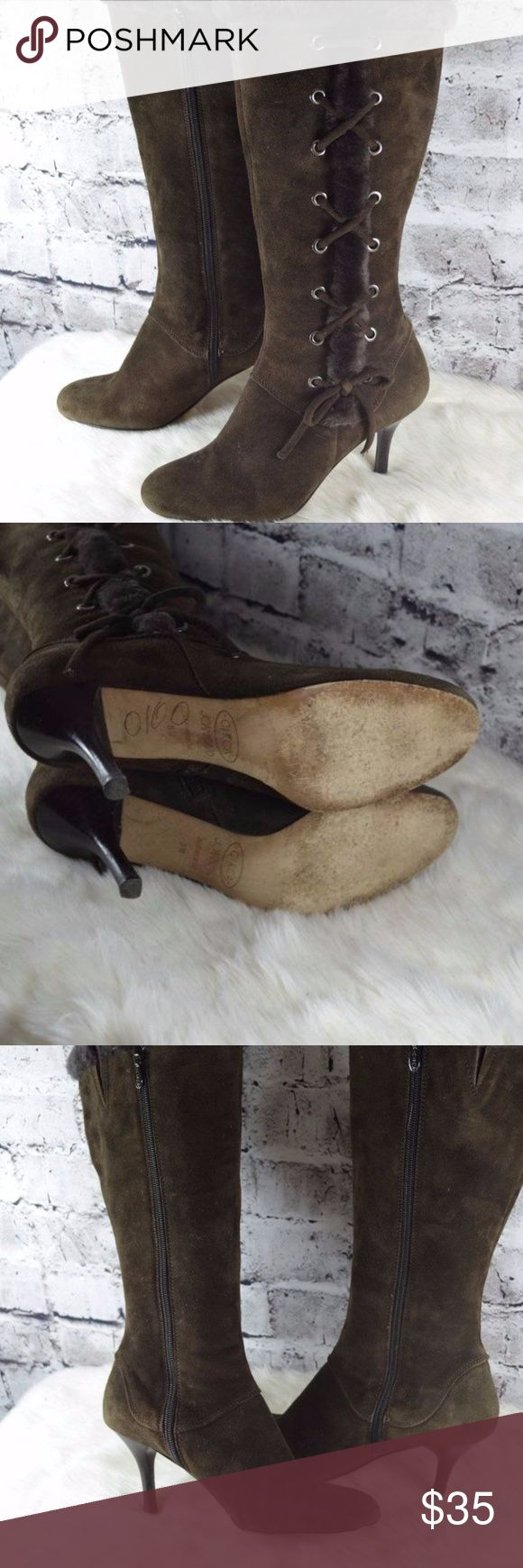Joan & David Millie brown suede fur boots Joan & David Millie brown suede fur lace up stiletto heels boots 8M height:16 circumference around top:15.5 heel:3.5 Condition: pre owned some minor wear. Joan & David Shoes Heeled Boots