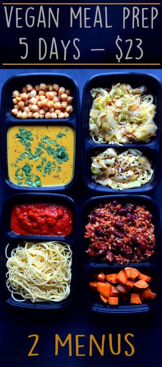Mahlzeit Prep Vegan - 5 Tage für 23 $ - Budget / billig - Pasta, Reis, gesunde Veggies - Rich Bitch Kochen Blog