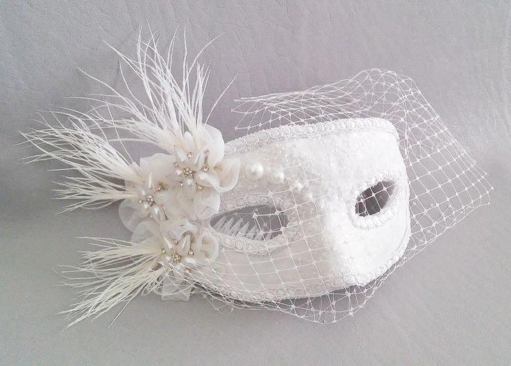 Bridal Mask,White Satin Glitter Russian Veil Pearl Bridal Mask,Chiffon Flower Bridal Accessory by IrmasElegantBoutique on Etsy