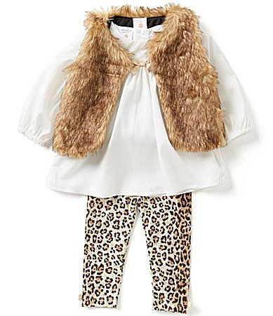 Starting Out Baby Girls 324 Months 3Piece FauxFur Vest Top and Leggings Set #Dillards