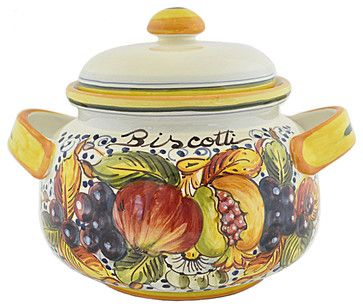 Frutta Biscotti Jar - Hand Painted Cookie Jar - mediterranean - Food Containers And Storage - Abbiamo Tutto