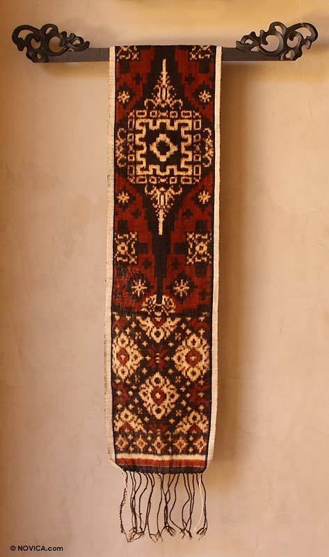 RED BALINESE IKAT Geringsing COTTON WALL HANGING~Novica