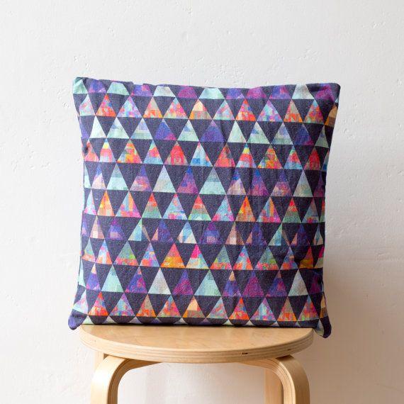 Geometric Print Cushion: 'Diamond Stitch' by PixelAndThread