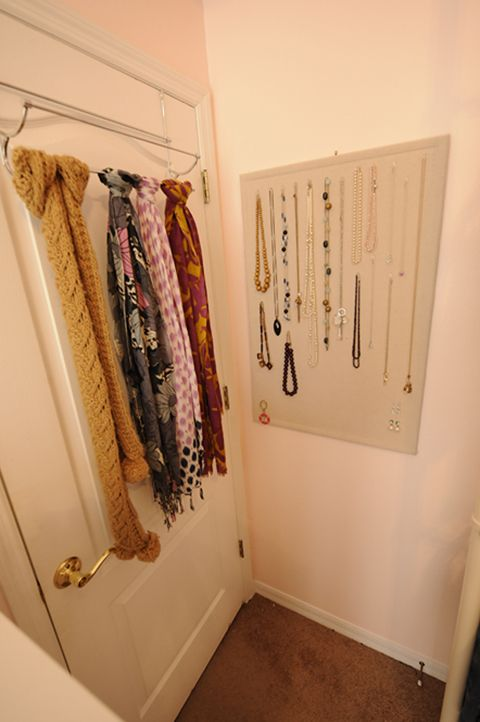 Great use for a corkboard...just put some fabric over it for more style.