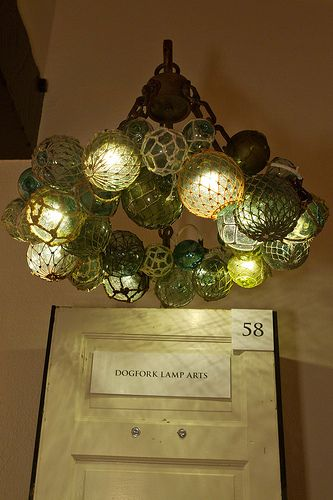 Vintage glass fishing floats, made into an awesome ceiling light! http://dogfork.com/