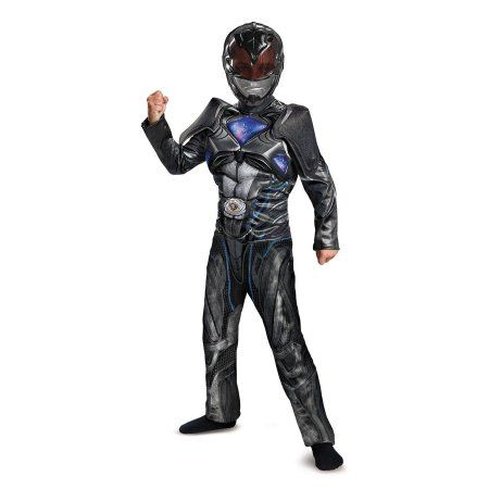 Power Rangers: Black Ranger Classic Muscle Child Costume, Boy's, Size: 10-12
