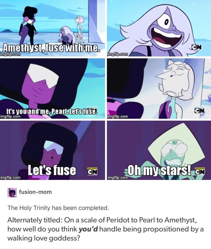 Garnet....honestly I would be a mix between peridot and amethyst reaction