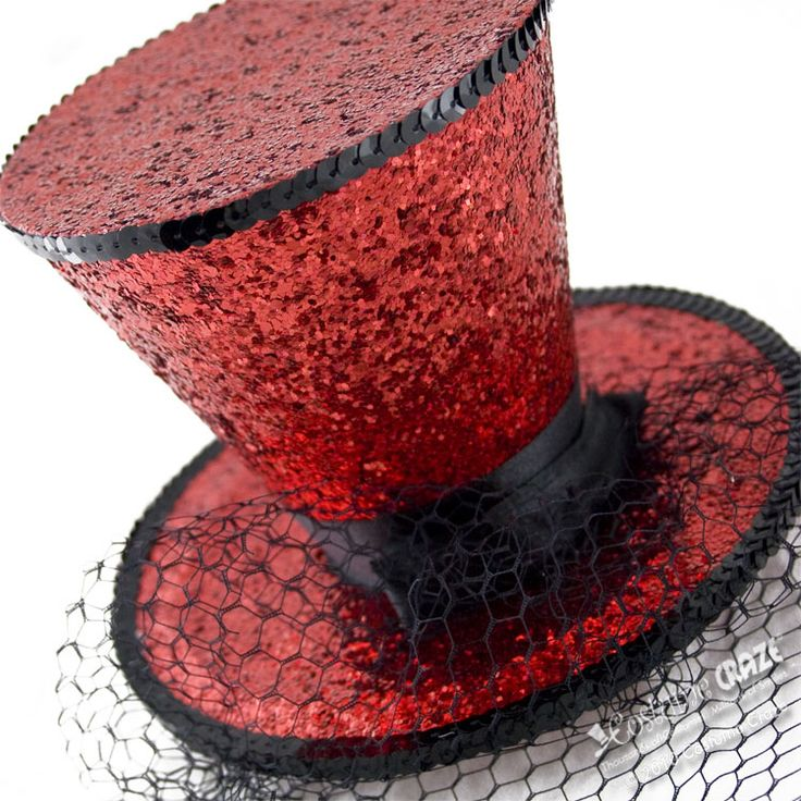 Red Mini Glitter Top Hat | Costume Craze