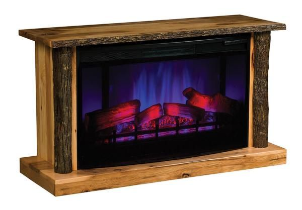 Amish Hickory Tv Stand Led Electric Fireplace With Remote