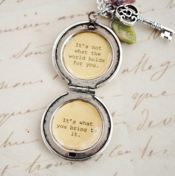 Anne of Green Gables Quote - Women's Locket - It's not what the world holds for you. It's what you bring to it.